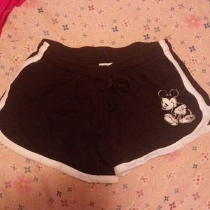 Short shorts with mickey mouse